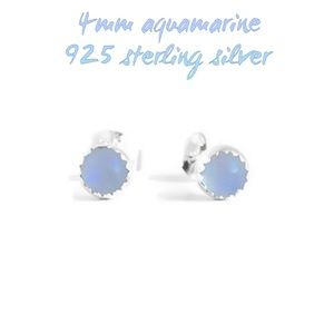 925SS Real aquamarine stud/post earrings